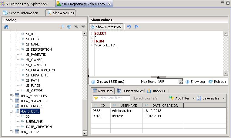 SBOPRepositoryExplorer_EXCELIntegrationSample